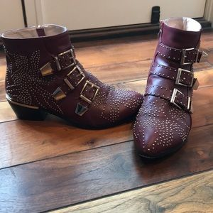 Shoes - Burgundy & Gold Stud Boots (40)